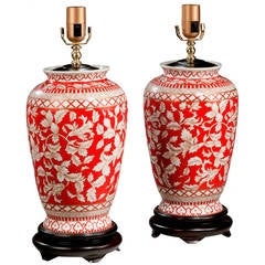 Pair of Large Porcelain Red Ground Lamps
