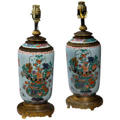 Pair of late 19th century Cantonese Porcelain Vases Lamps