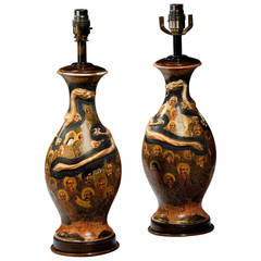 Pair of early 20th century Japanese Ovoid Vase Lamps