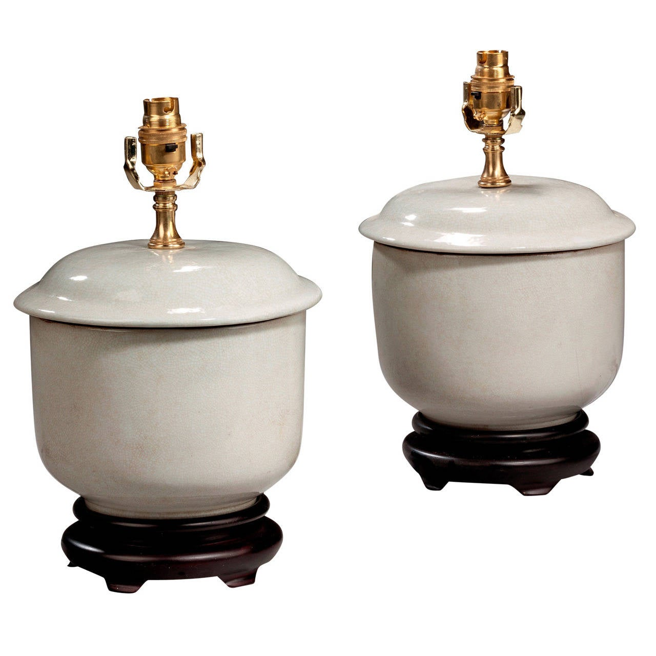 Pair of 20th Century Antique White Clobbered Lamps
