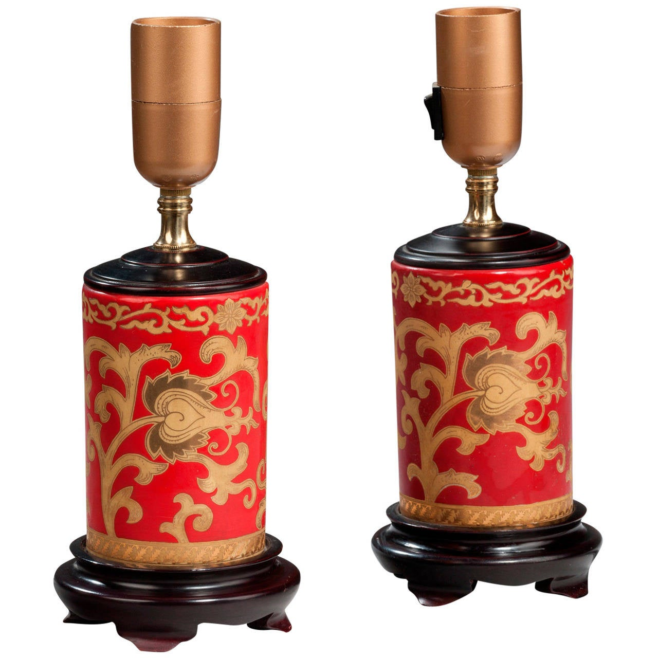 pair of red ground lamps for sale at 1stdibs. Black Bedroom Furniture Sets. Home Design Ideas