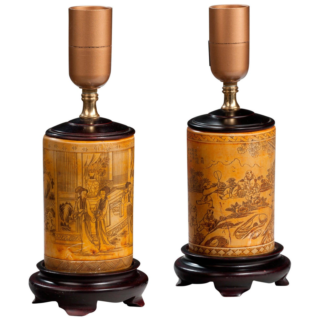 Pair of 20th century Ivorine Ground Lamps For Sale