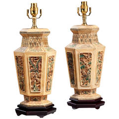 Pair of Ivorina Hexagonal Lamps