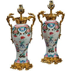 Pair of 18th Century Canton Porcelain Vase Lamps