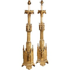 Pair of 19th Century Gothic Gilt Bronze Lamps