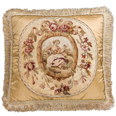 Mid 18th Century Silk and Wool Cushion. A Young Lady in Repose