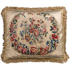 Cushion: 18th Century, Wool. Vibrant Flowers.
