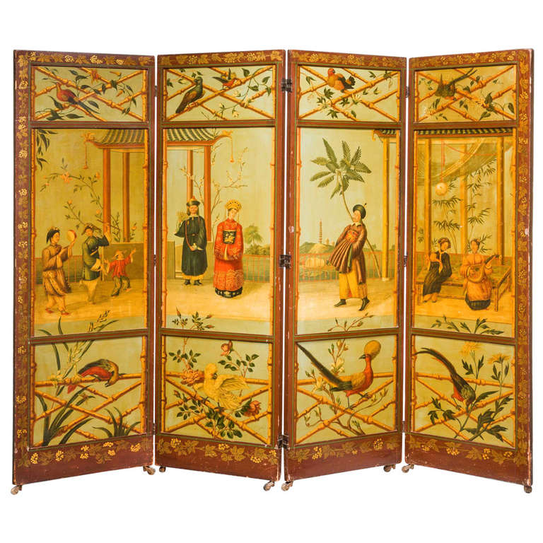 Fine 19th Century Four Fold Panel Screen
