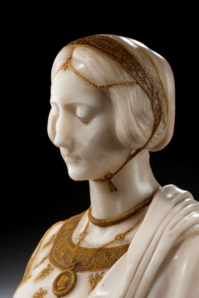 19th Century Art Nouveau Bust of Laura Signed Parello