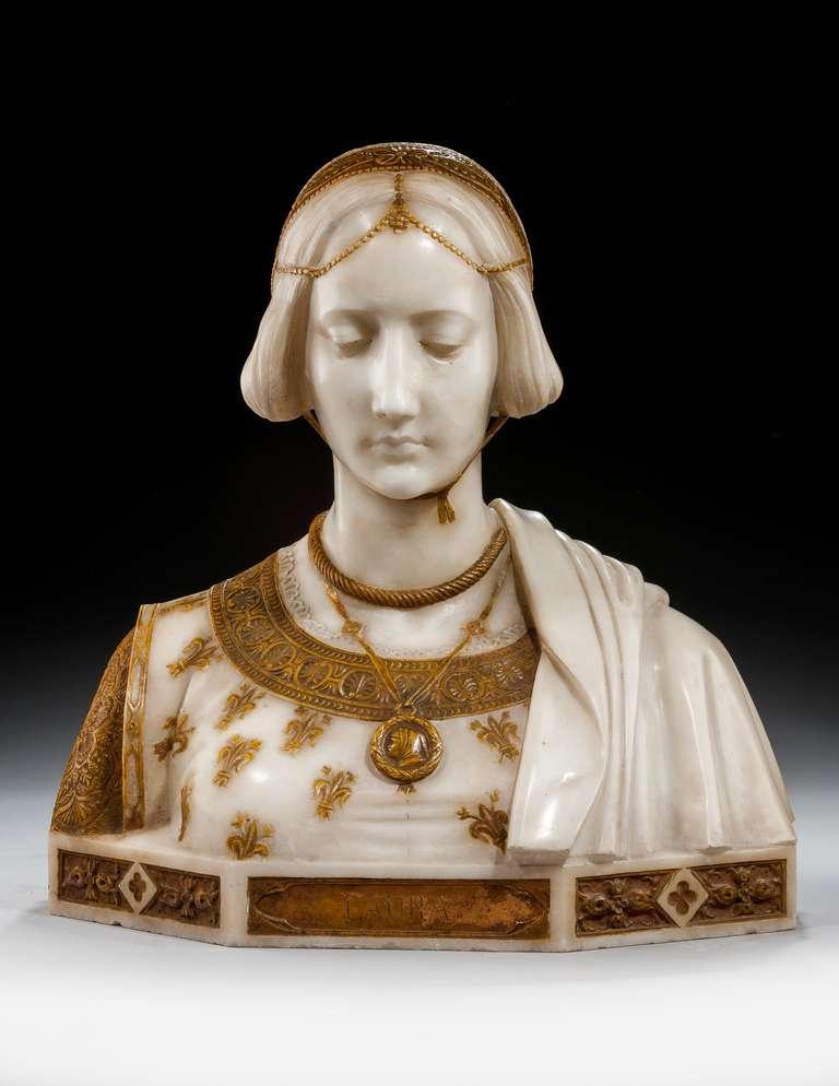 English Art Nouveau Bust of Laura Signed Parello