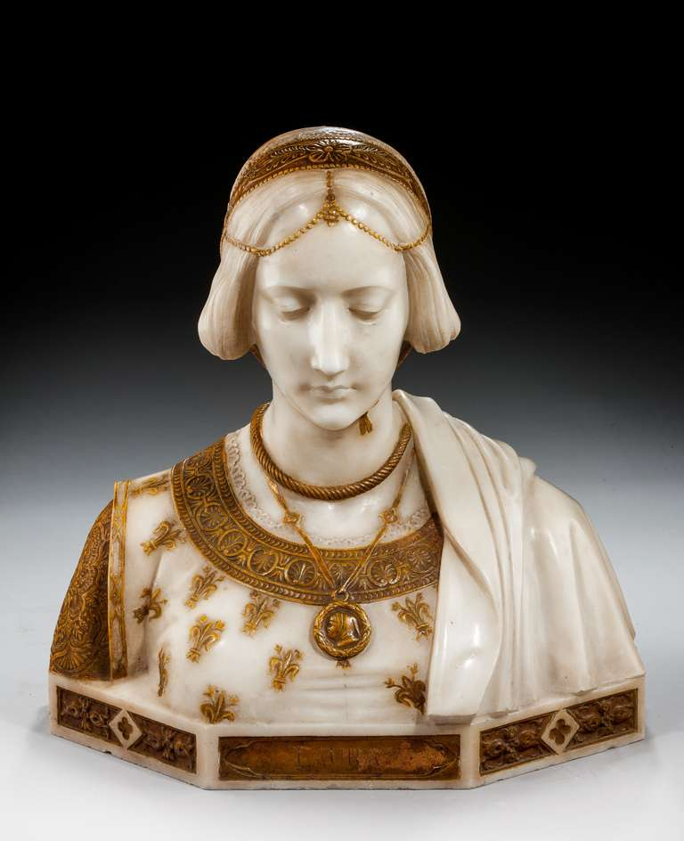 19th century Art Nouveau fine marble bust of Laura with gilded decoration signed Parello. This bust is of the idealized beloved of Franscesco Petrarca (visible in the medallion).  RR.