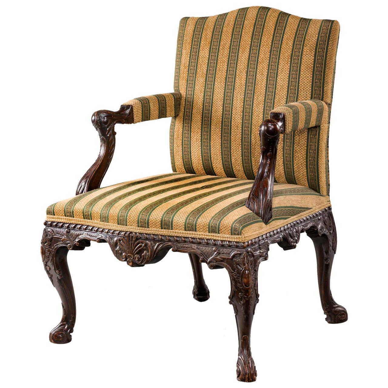 19th Century Mahogany Gainsborough Armchair