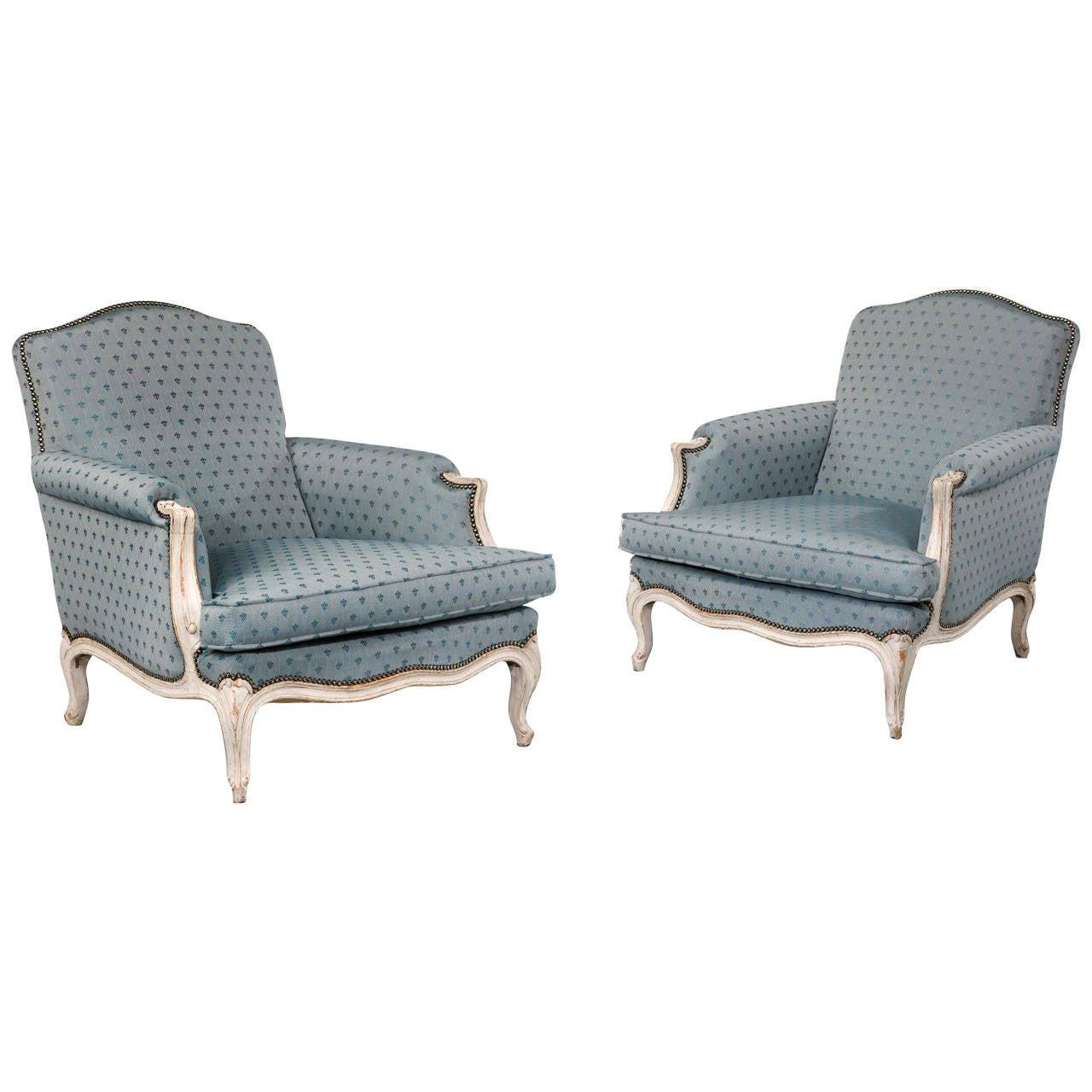 pair of louis xv design painted beech fauteuils for sale. Black Bedroom Furniture Sets. Home Design Ideas