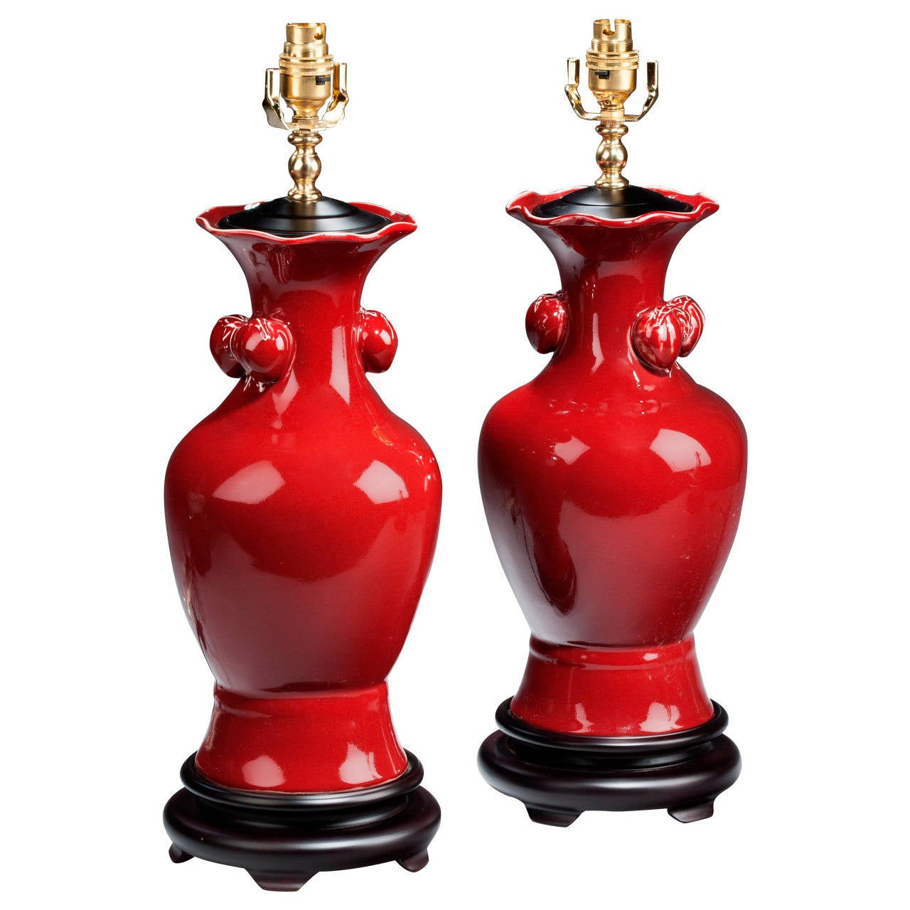 Pair of 20th century 'Sang de Boeuf' Waisted Lamps
