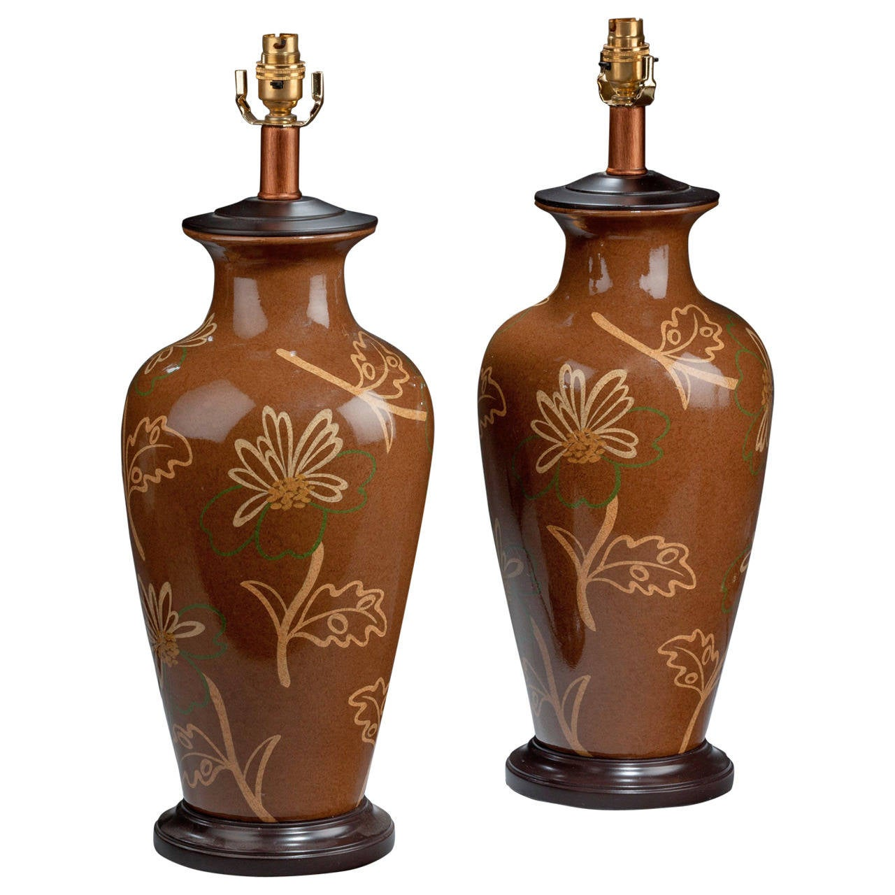 Pair of 20th century Large Ovoid Crackle Ware Lamps For Sale