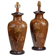 Pair of 20th century Large Ovoid Crackle Ware Lamps