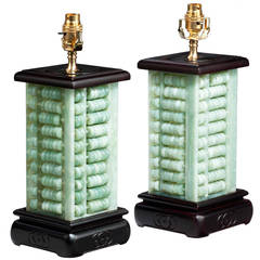 Pair of Jade Type Abacus Lamps