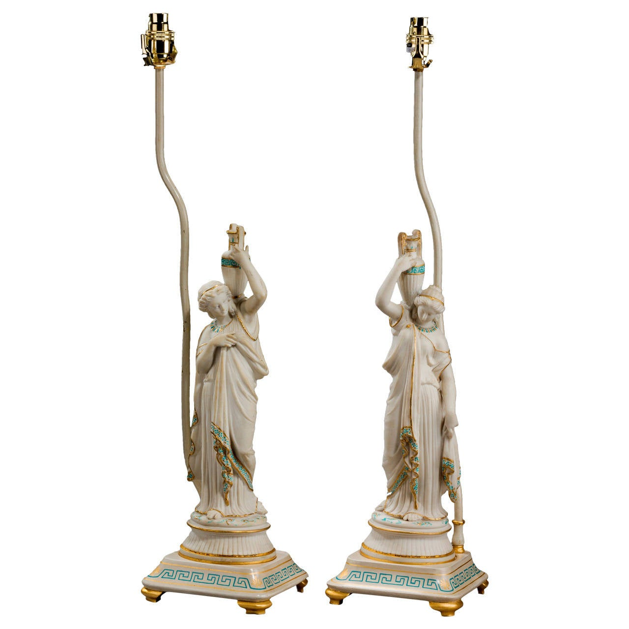 Pair of late 19th century Parian Neoclassical Lamps