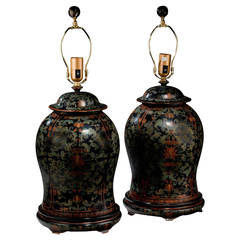 Pair of early 20th century Papier Mâché Lamps