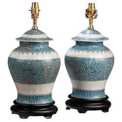 Pair of 'Ginger Jar' Ovoid Porcelain Lamps