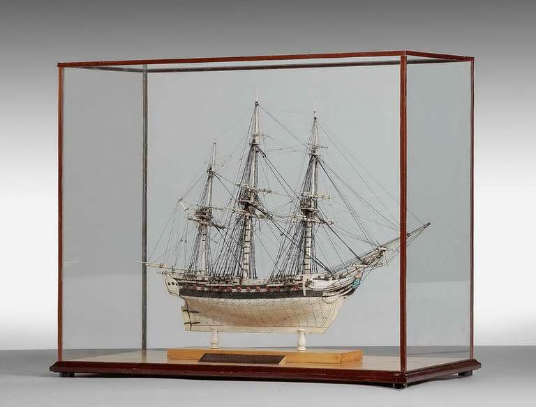 Fine 19th century Prisoner of War model of a frigate Pomone, with 44 guns.  H M Frigate Pomome had 44 guns. Taken in 1794 by Sir J B Warren then becoming the flagship of his frigate squadron cruising near Cape Finisterre to protect trade, she took