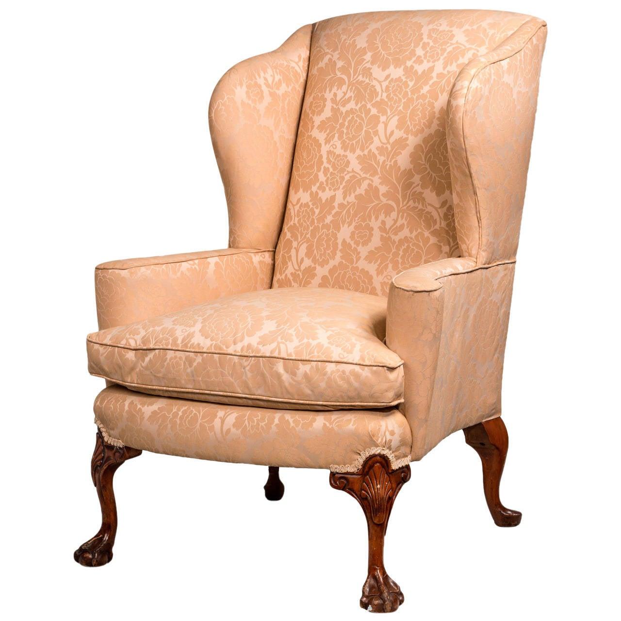 George II Design Walnut-Framed Wing Chair