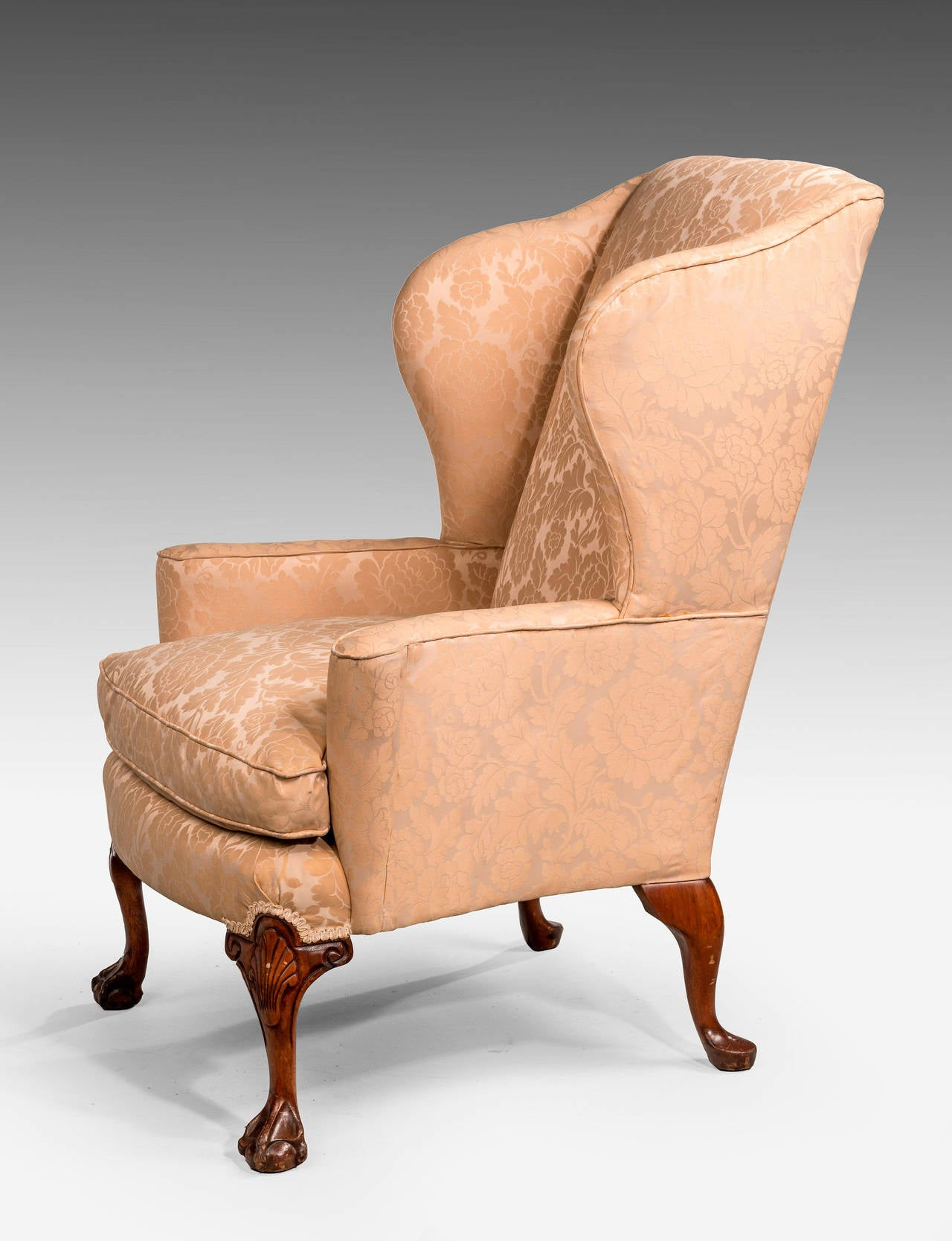 English George II Design Walnut-Framed Wing Chair For Sale