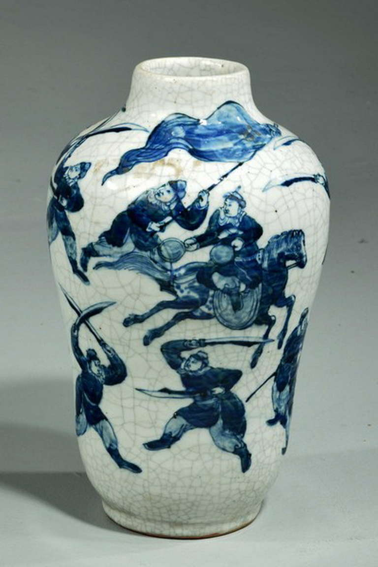 Chinese 19th Century Blue and White Vase For Sale
