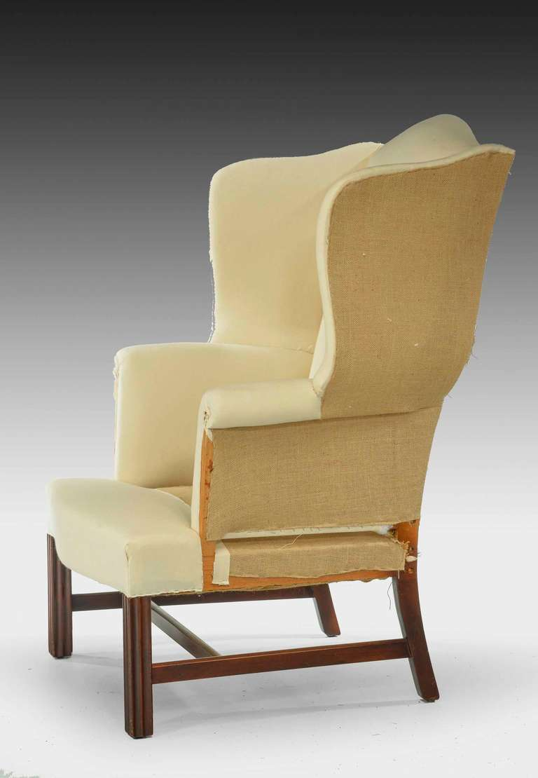 Early 20th Century Mahogany Framed Wing Chair For Sale At 1stdibs