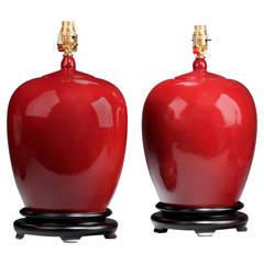 Pair of 'Sang De Boeuf' Ginger Jar Lamps