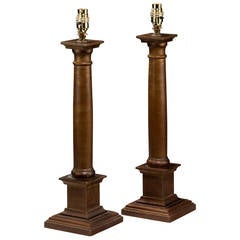 Pair of Early 20th Century Carved Wood Column Lamps