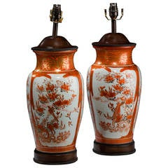 Pair of late 19th century Japanese Satsuma Vase Lamps