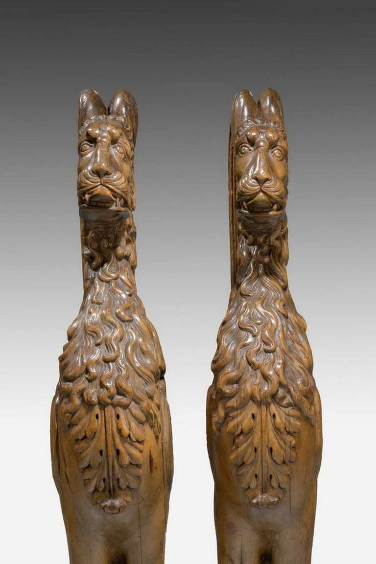 Pair of 16th Century French Walnut Chimeras For Sale 6