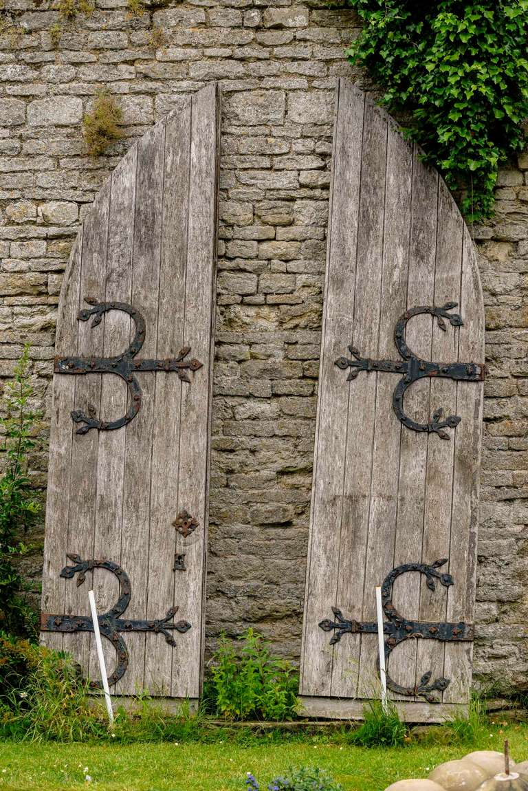 British Pair of Mid-19th Century Oak Arched Doors For Sale