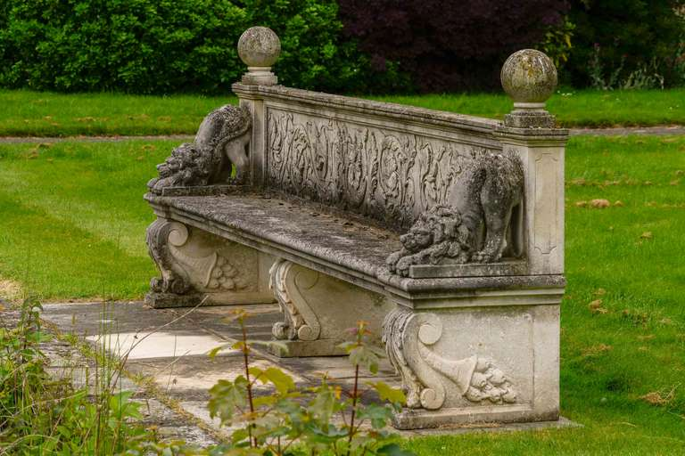 Carved Stone Bench : Late th century carved stone bench at stdibs
