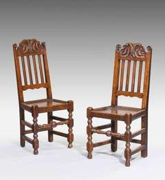 Pair Of 18th Century Oak Side Chairs