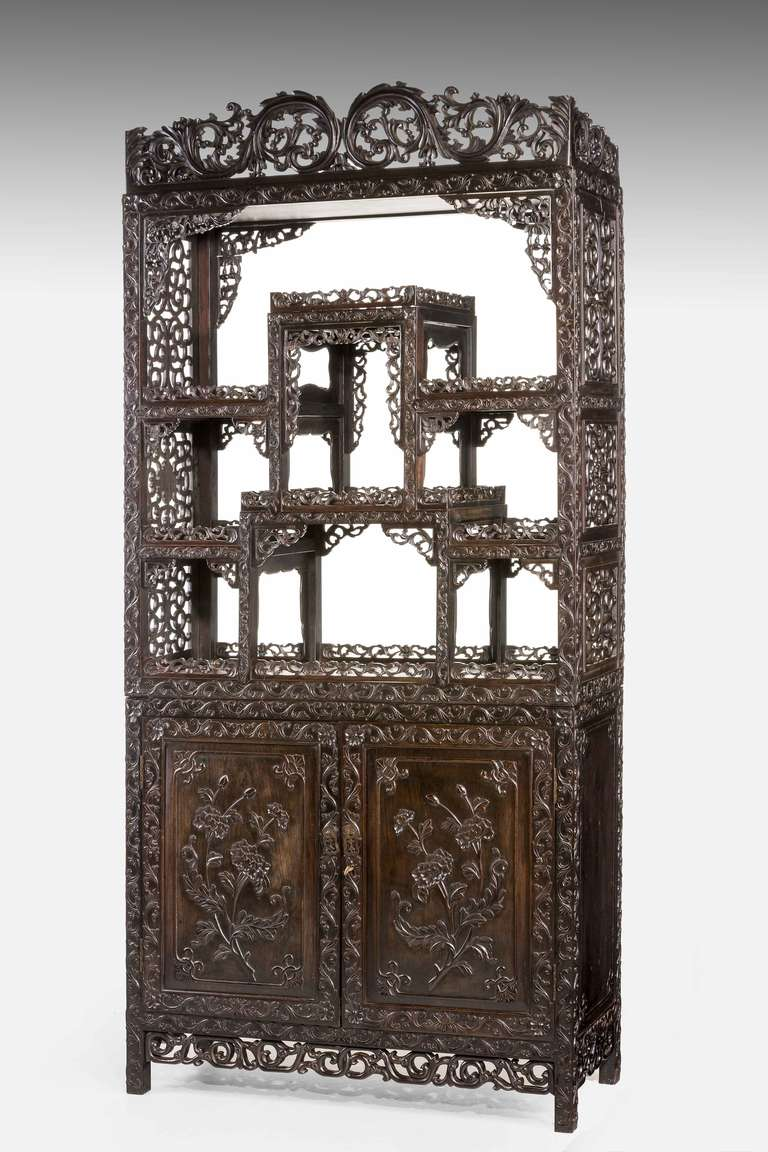 fine 19th century black wood oriental etagere cabinet at 1stdibs. Black Bedroom Furniture Sets. Home Design Ideas