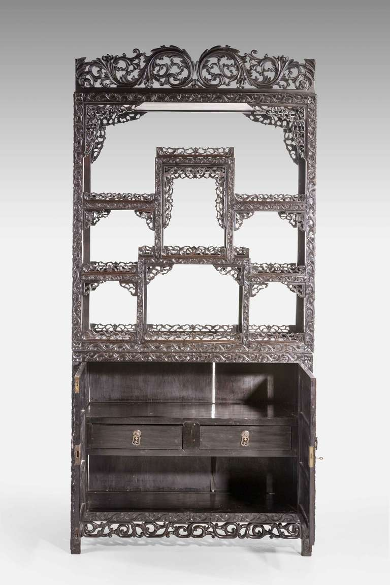 fine 19th century black wood oriental etagere cabinet at. Black Bedroom Furniture Sets. Home Design Ideas