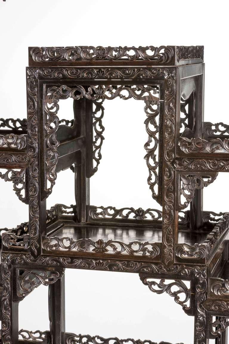 fine 19th century black wood oriental etagere cabinet at 1stdibs. Black Bedroom Furniture Sets. Home Design Ideas
