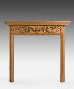 Finely Carved 19th Century Pine Fire Surround
