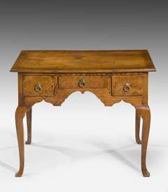 Early 18th Century Oak and Burr Oak Lowboy