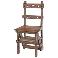 19th Century Oak Folding Library Chair