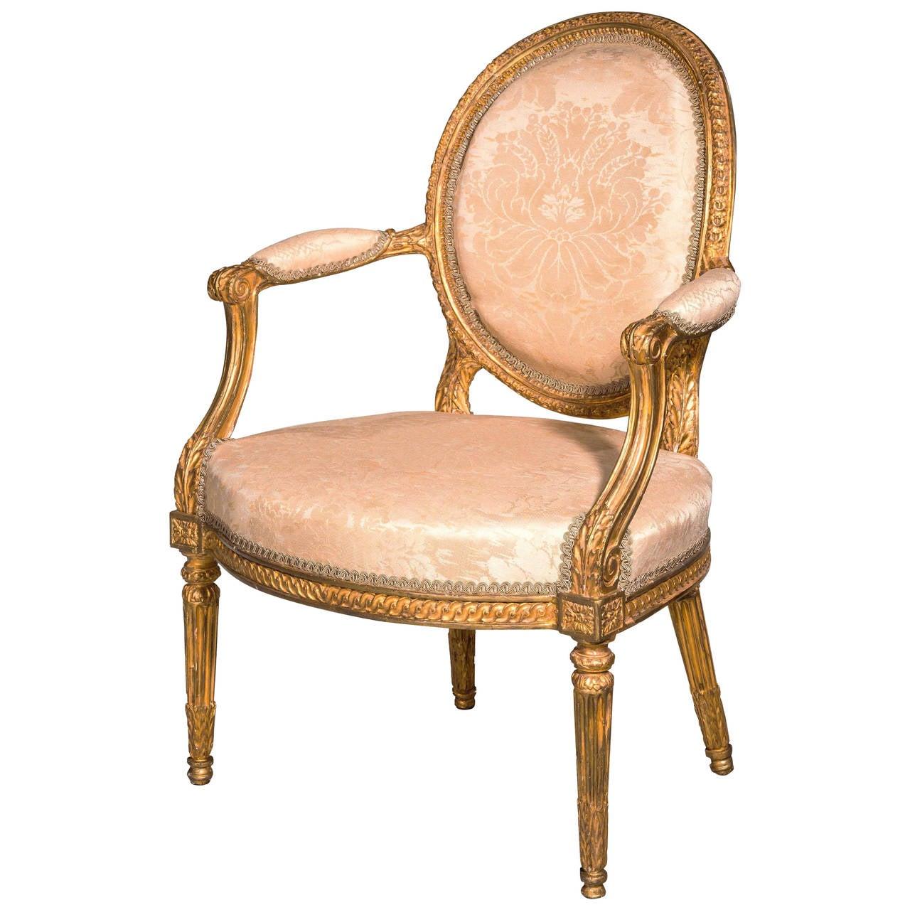 Late 18th Century Giltwood Armchair
