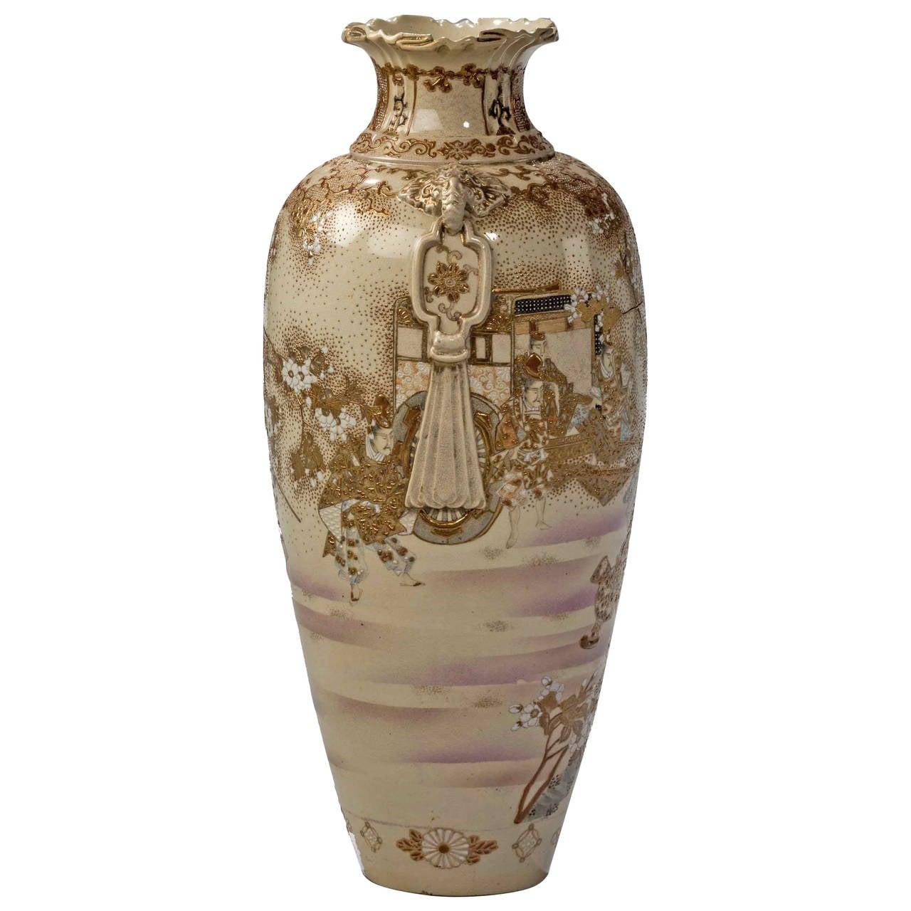 19th Century Satsuma Ovoid Pottery Vase