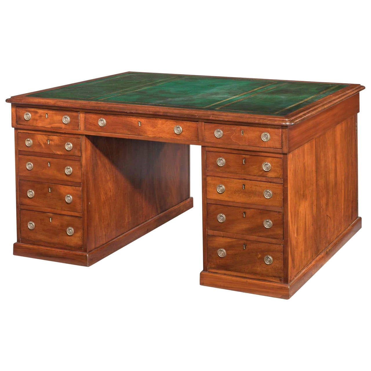 Late Regency Period Mahogany Three-Part Pedestal Desk