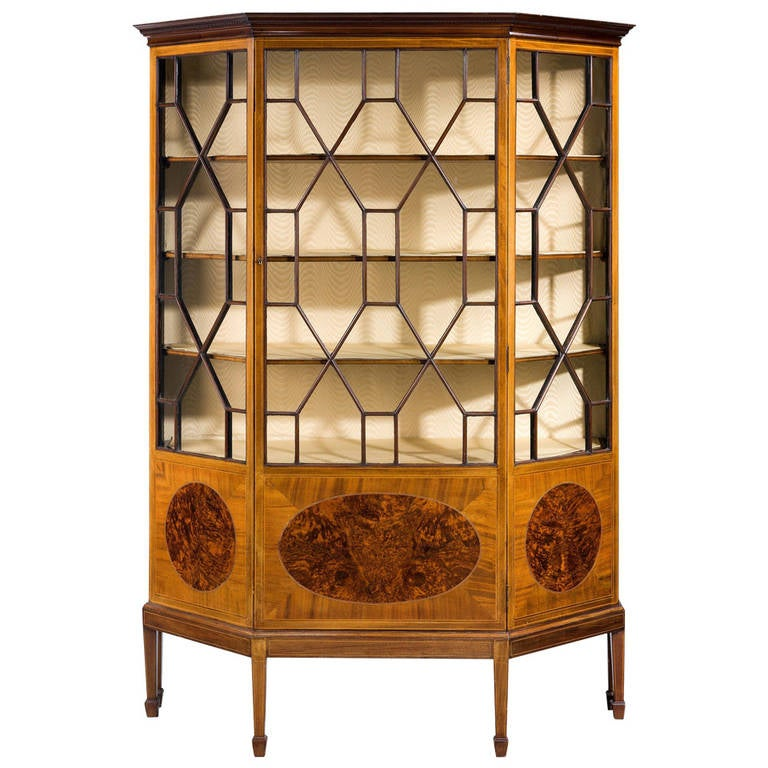 Edwardian Period Mahogany Display Cabinet For Sale