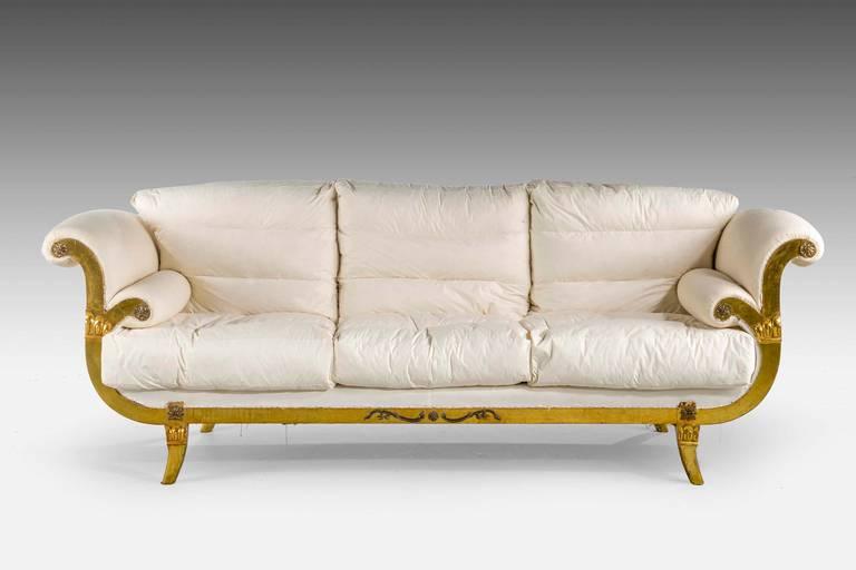 British Regency Style Giltwood Sofa For Sale