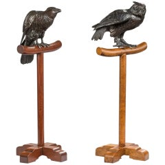Pair of 19th Century Raptors, Meiji Period