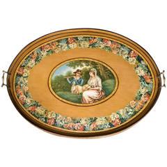 George III Period Decorated Pine Tray
