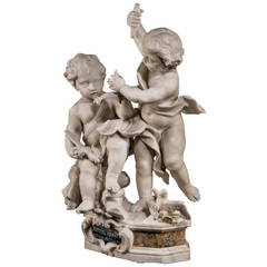 Early 17th Century Carved Marble Figure of Two Putti
